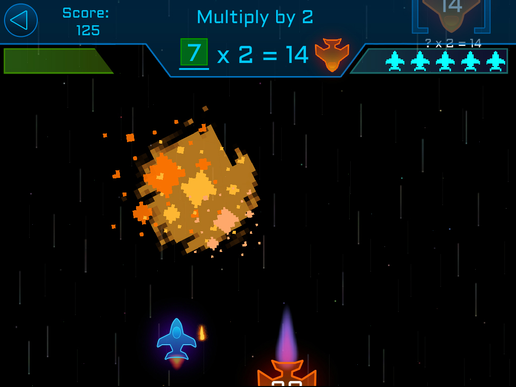 The player has solved the equation X x 2 = 14 by firing a 7 torpedo at an oncoming ship which has now exploded.