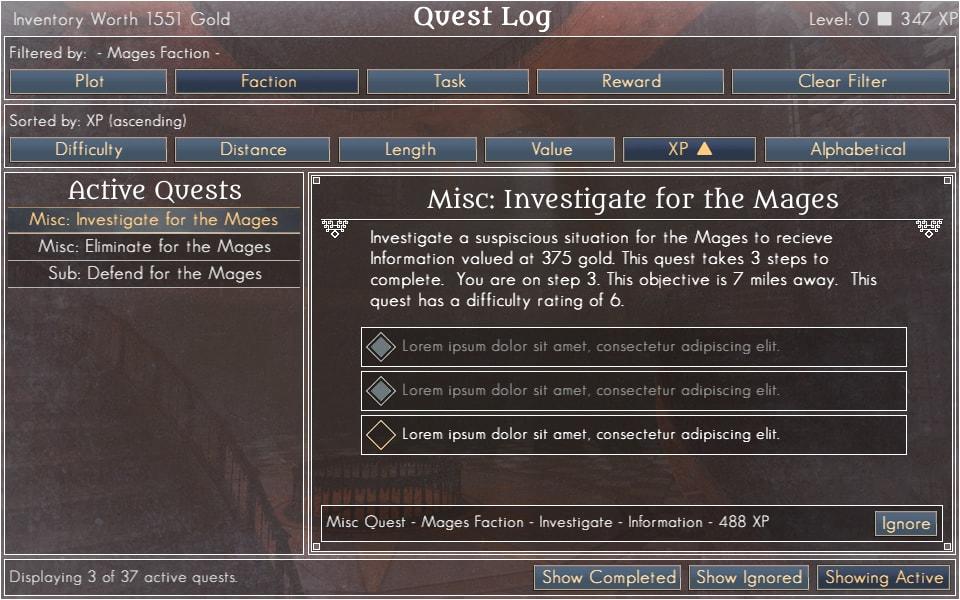 Meta-Data Filterable Quest Log